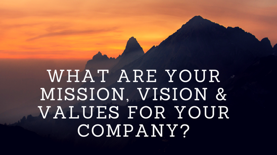 What are your mission, vision & values for your company?