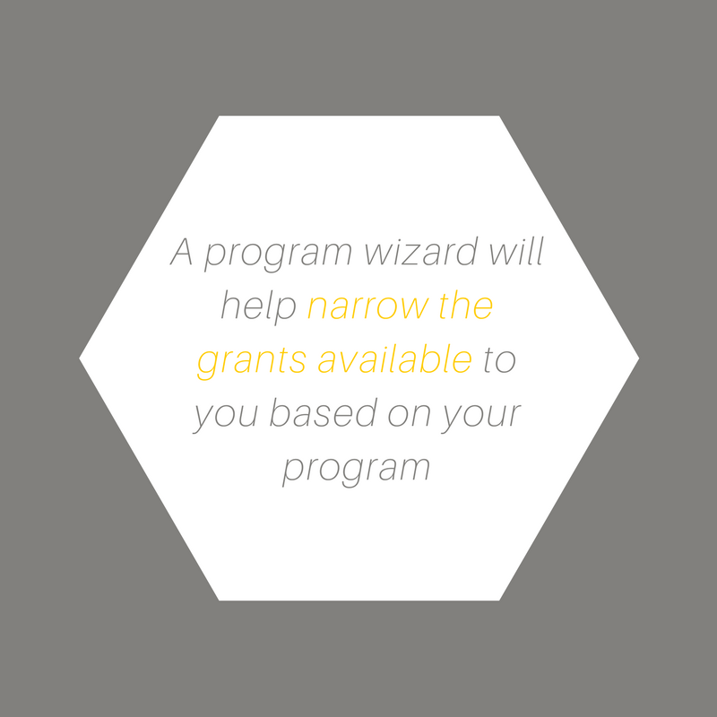 A program wizard will help narrow the grants available to you based on your program
