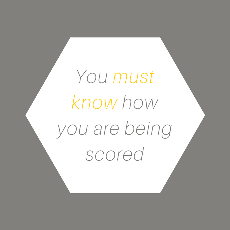 You must know how you are being scored