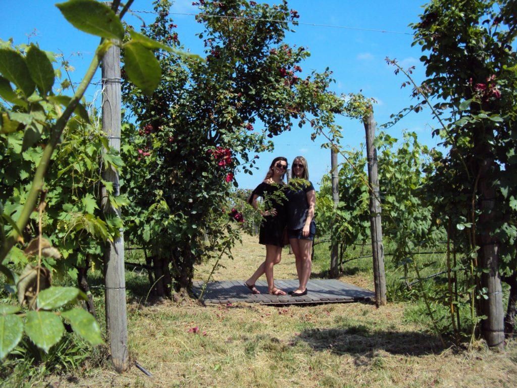 Sarah and sister in Greece Vineyard