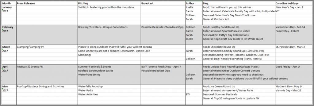 BTI Content Strategy Editorial Calendar