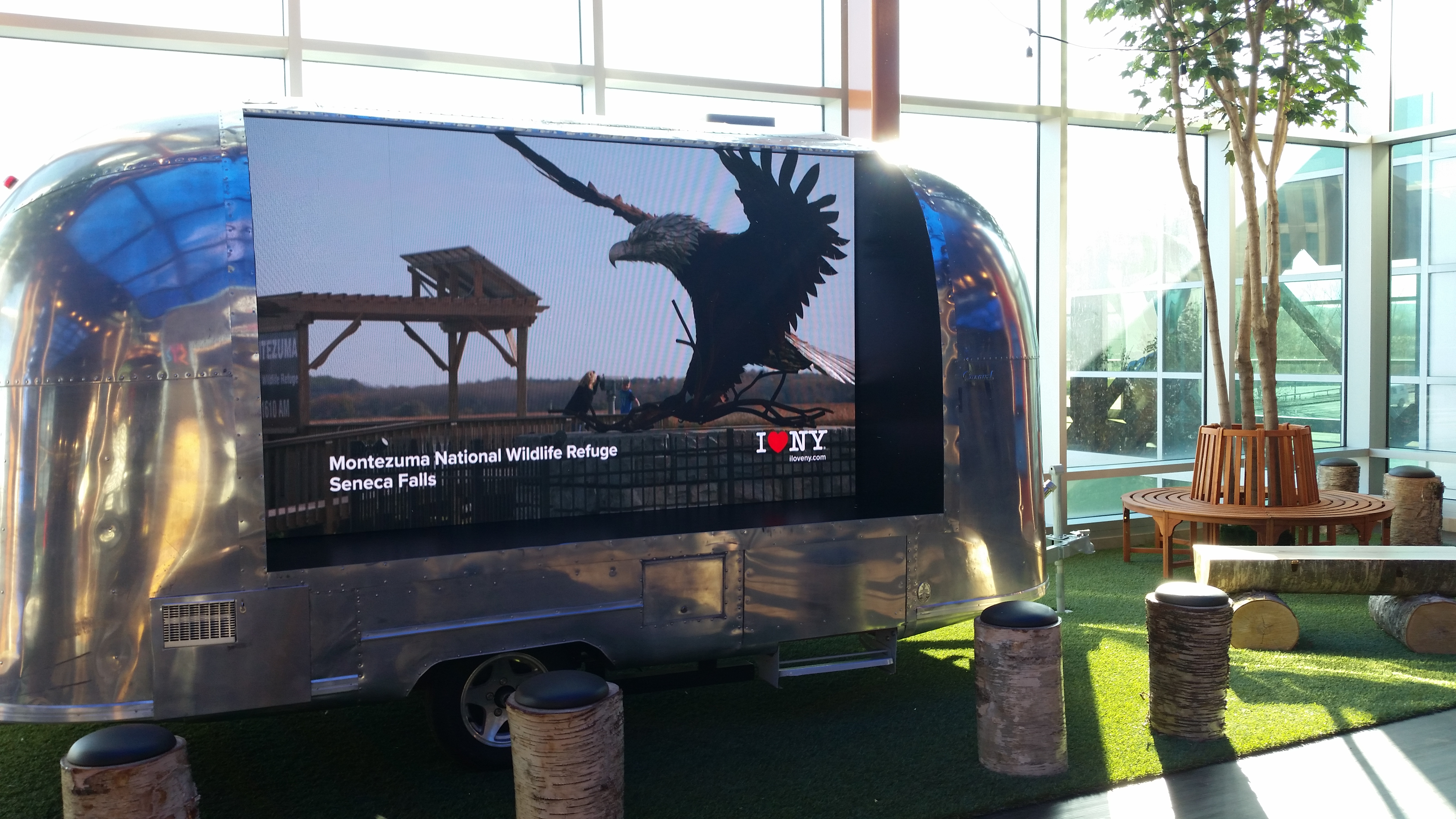 Camper at I Love NY's welcome center in Destiny USA