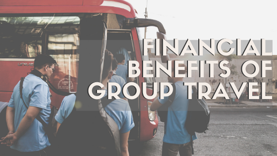 Financial Benefits of Group Travel [Image with men boarding a red bus with backpacks and musical instruments on their backs]
