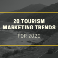 [Cover Image} 20 tourism marketing trends for 2020 with a black and white background of a car driving up the coast