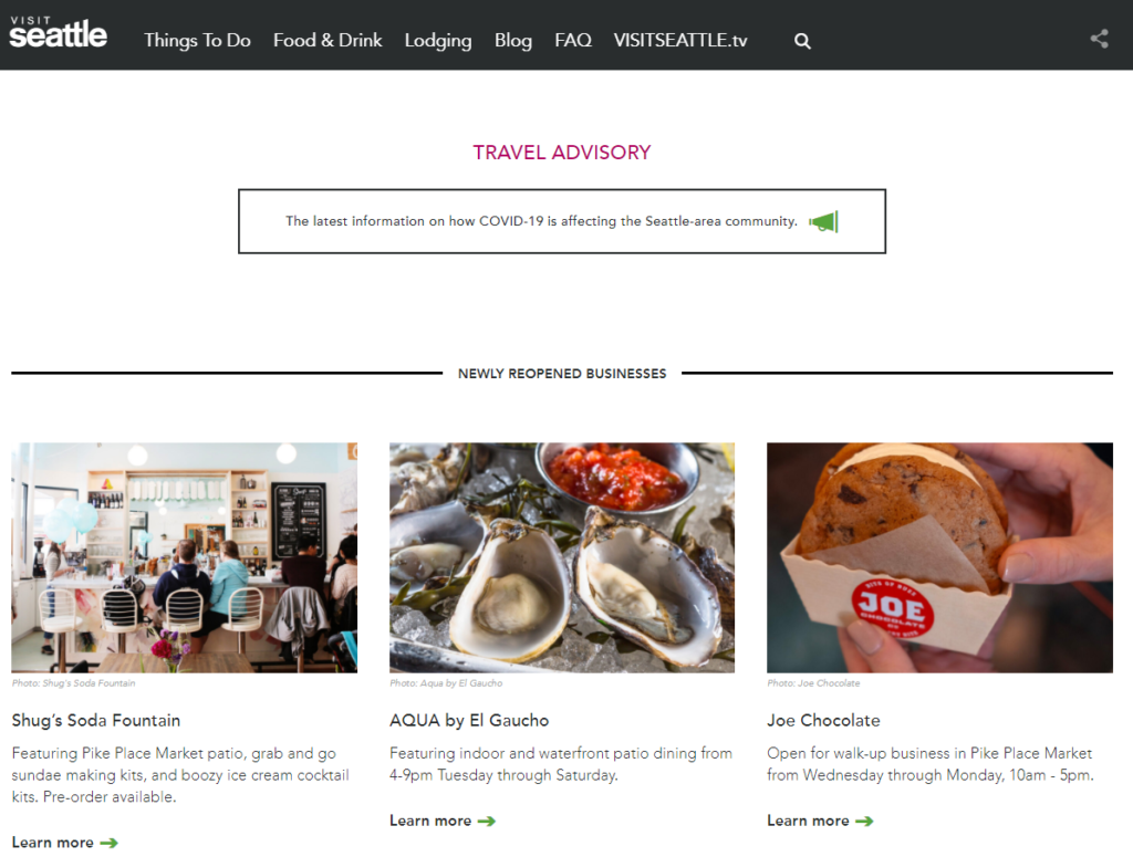 A screenshot of the Visit Seattle website showing the travel advisory and blogs on local restaurants that are open.