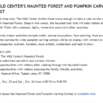 Jay Community News - The Wild Center's Haunted Forest and Pumpkin Carving Contest - 102419