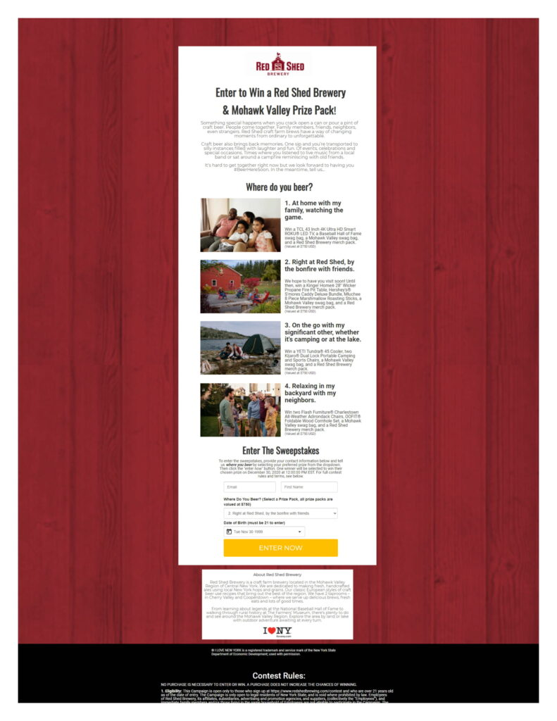 """Landing page for the Red Shed Brewing """"Where do you beer?"""" contest"""