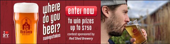 """A banner ad for the Red Shed Brewing """"Where do you beer?"""" contest"""
